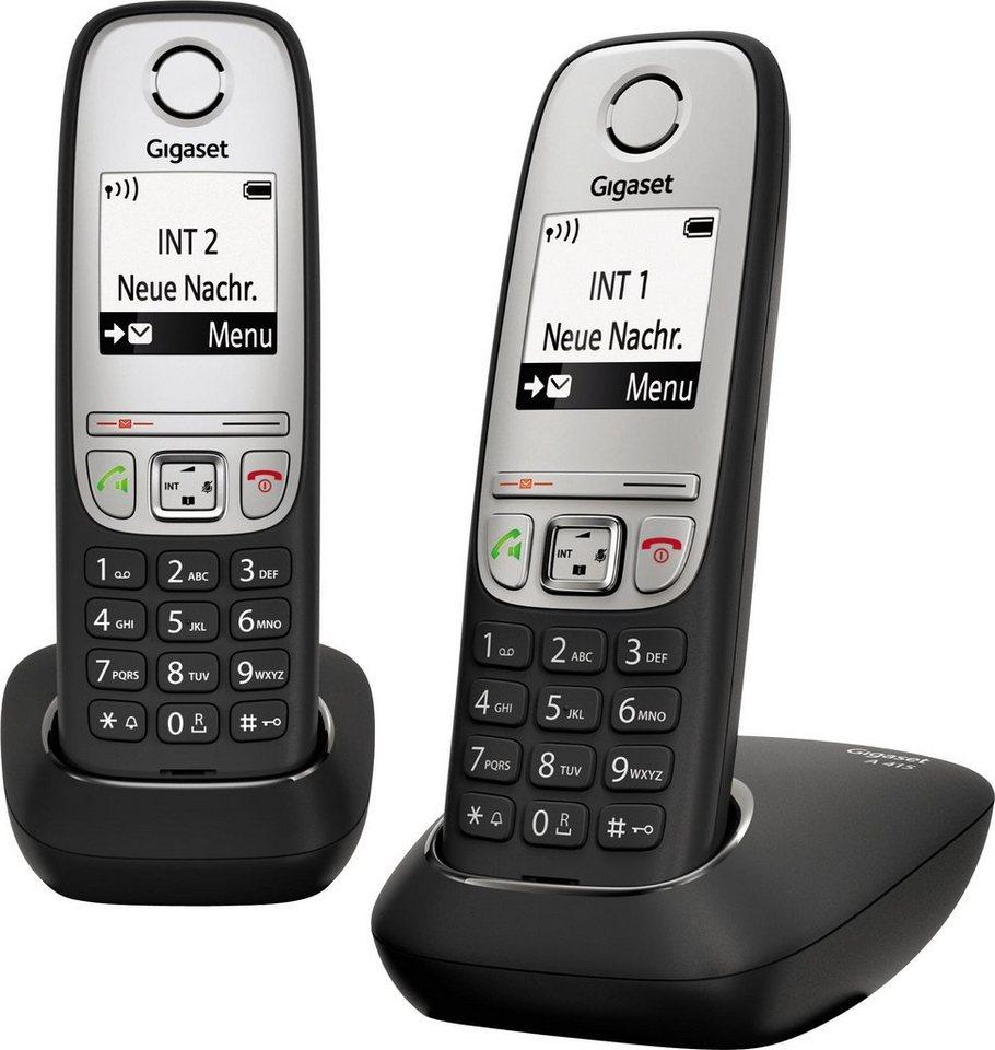 Gigaset A415 DUO Schnurloses DECT Telefon-Set in schwarz