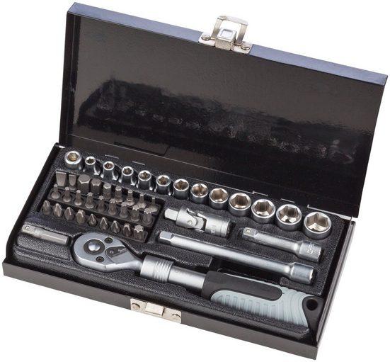 WGB BASIC PLUS Steckschlüsselsatz 45-tlg. Steckschlüssel-Garnitur, im Stahlblechkasten