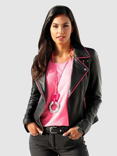 Amy Vermont Lederjacke mit pinkfarbenen Akzenten