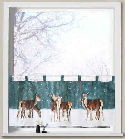 Scheibengardine »Hirsche im Schnee«, Weckbrodt, Schlaufen (1 Stück), Microsatin