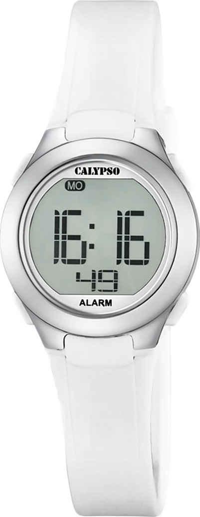 CALYPSO WATCHES Digitaluhr »UK5677/1 Calypso Damen Uhr K5677/1 Kunststoffband«, (Digitaluhr), Damen Armbanduhr rund, PURarmband weiß, Sport