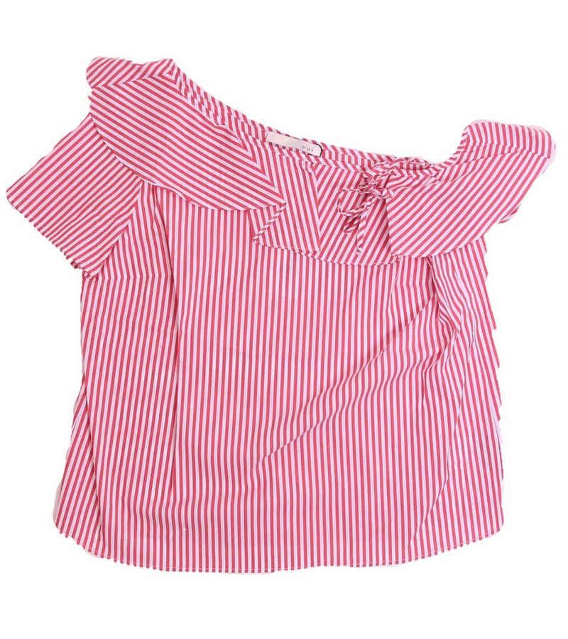Oui Blusentop »OUI One-Shoulder Bluse sommerlich leichte Kurzarm-Bluse für Damen im Streifen-Look Freizeit-Bluse Rot«