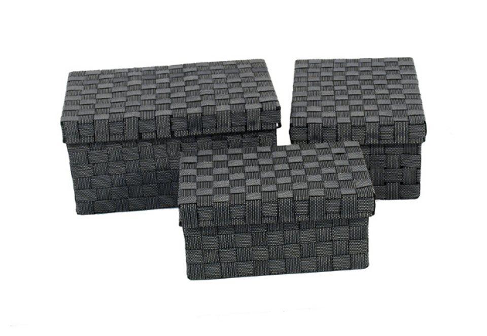 Aufbewahrungsboxen, Franz Müller Flechtwaren (3tlg.) in schwarz