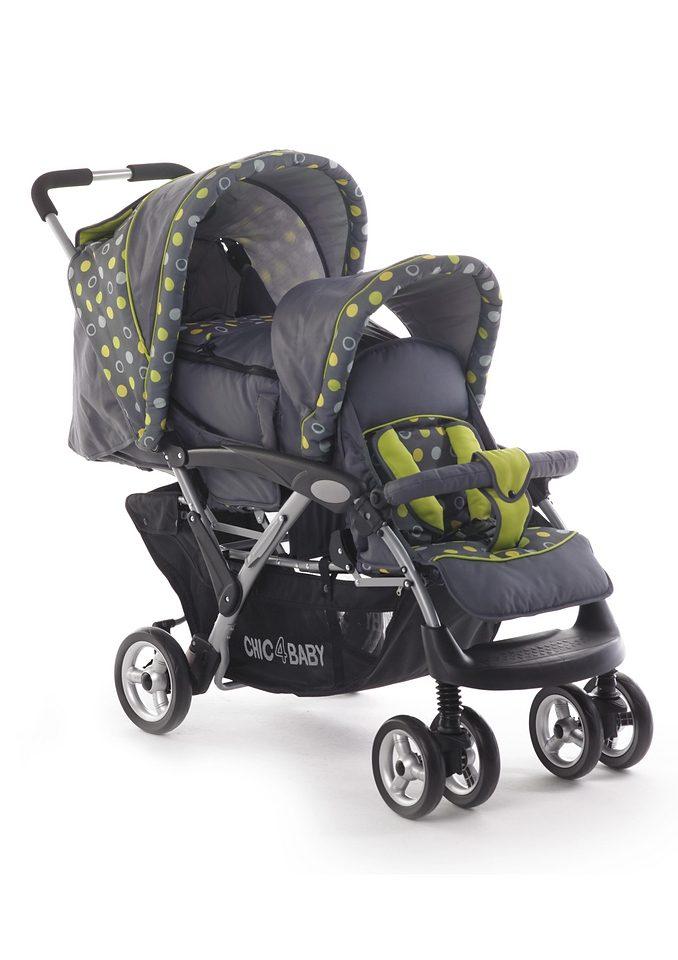 CHIC4BABY, Geschwister-Kinderwagen mit großem Gepäckkorb, grau/grün »DUO«