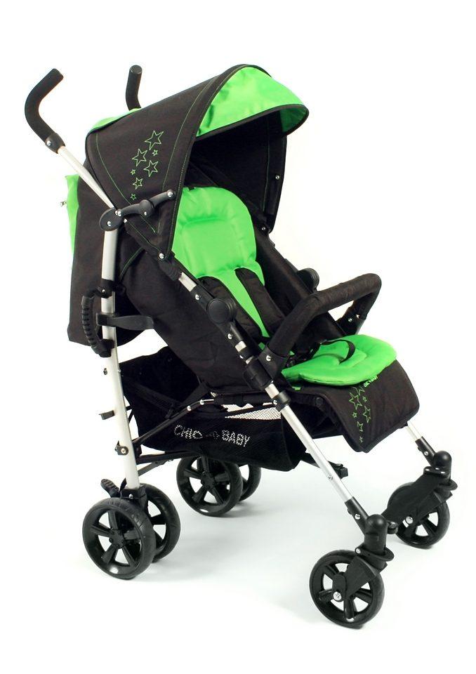 CHIC4BABY, Alu Buggy mit komfortabler Einhand-Rückenverstellung, grün/schwarz »MAXX«