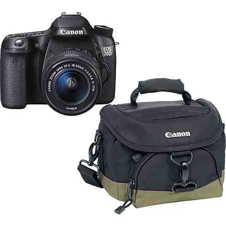 Canon EOS 70D Spiegelreflex Kamera, EF-S 18-55 IS STM Zoom, inkl. Tasche, 20,2 Megapixel