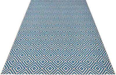 Teppich »Karo«, bougari, rechteckig, Höhe 8 mm, Flachgewebe, In- und Outdoor geeignet, Geometrisches-Design, Für Terasse und Balkon, Wohnzimmer