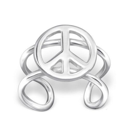 BUNGSA Ohrklemme »Ohrklemme Peace 925 Silber Damen« (inkl. Schmuckbeutel aus Organza), Ohrschmuck Ohrringe Frauen Geschenk Liebe