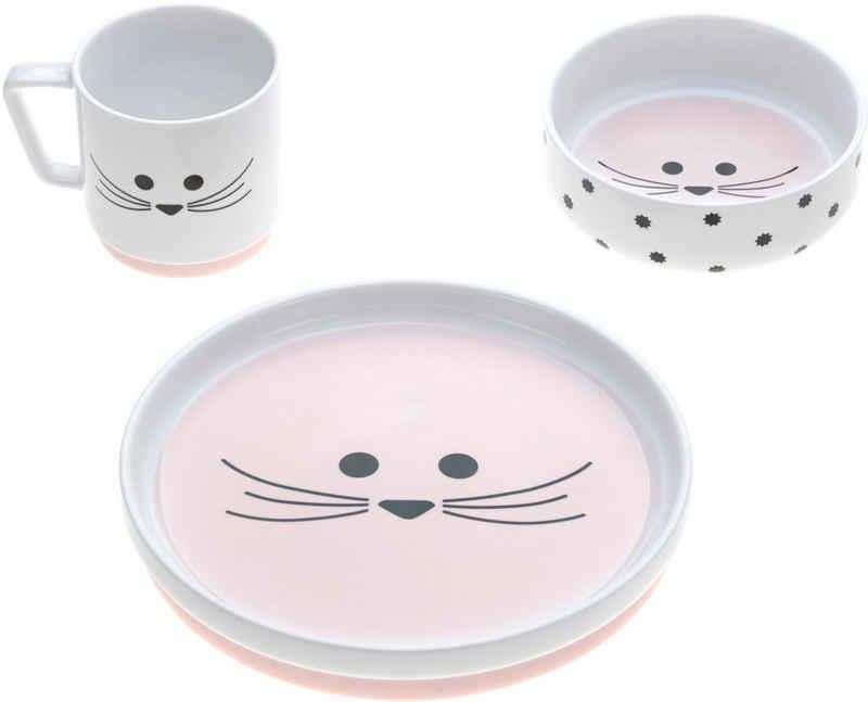 LÄSSIG Kindergeschirr-Set »Little Chums, Mouse« (3-tlg), Porzellan, rutschfest
