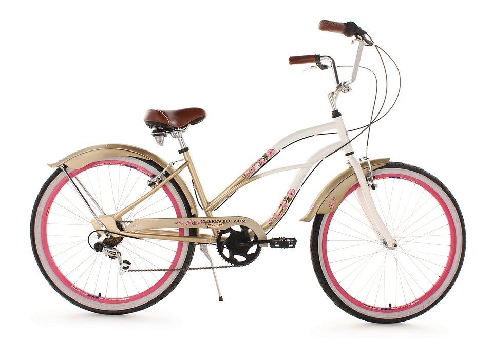 beachcruiser damen ks cycling cherry blossom 26 zoll 6 gang shimano tourney v brakes. Black Bedroom Furniture Sets. Home Design Ideas