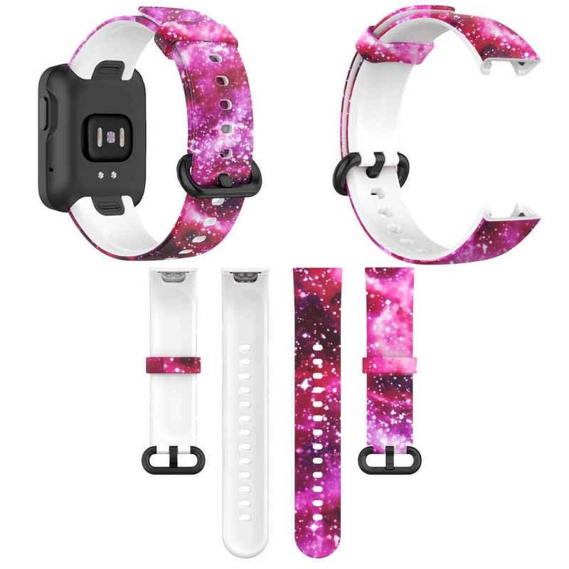 Wigento Für Xiaomi Mi Watch Lite / Redmi Watch Kunststoff / Silikon Armband Muster 10 Uhr Neu Fitnessband