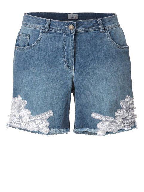 Hosen - Angel of Style by HAPPYsize Jeansshorts mit Stickerei › blau  - Onlineshop OTTO