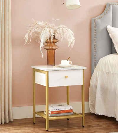 VASAGLE Nachttisch »LET512A10«, Beistelltisch, mit Schublade und Gitterablage, modern, weiß-goldfarben