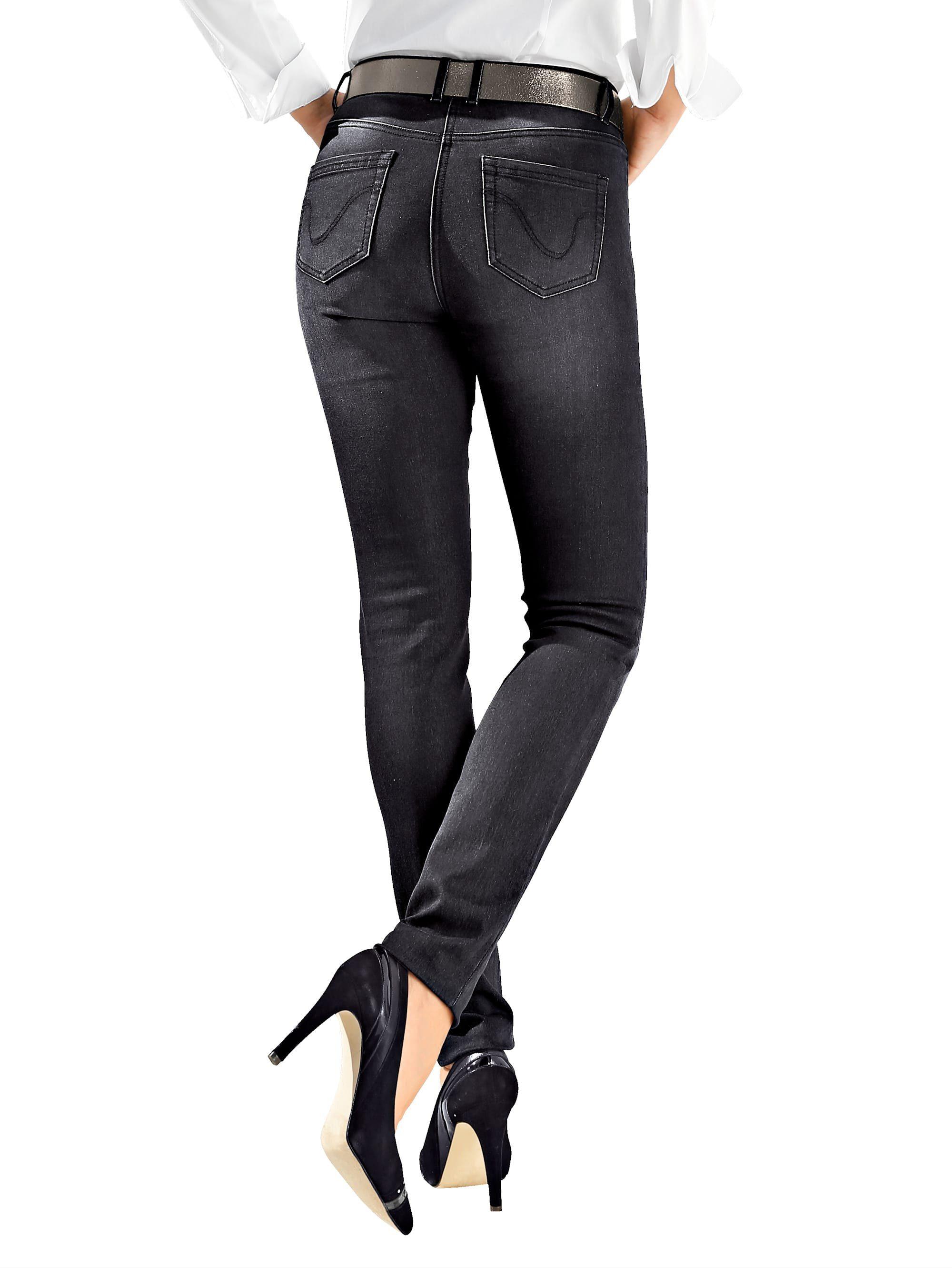 Amy Vermont Jeans mit dezenter Waschung, In klassischer 5-Pocket-Form