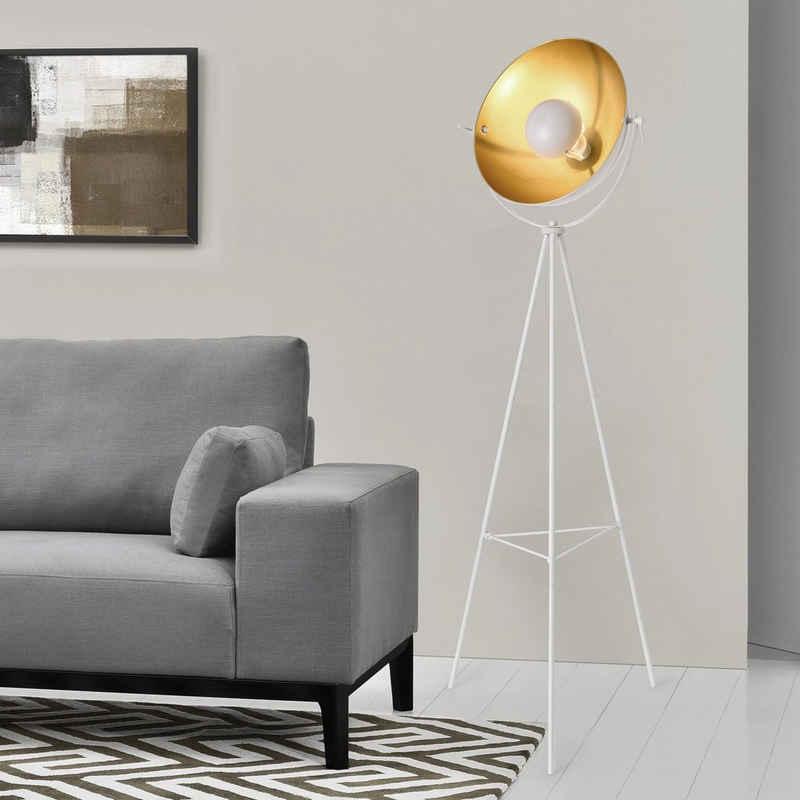 lux.pro Stehlampe, lux.pro Stehlampe, »Angers« Stehleuchte Design Scheinwerfer Messing-Weiß