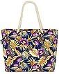 VOID Strandtasche (1-tlg), Vintage Palmenblätter Hibiskus Beach Bag Tropen-Wald Hawaii Gold Lila Blumen, Bild 1