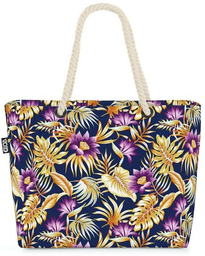 VOID Strandtasche (1-tlg), Vintage Palmenblätter Hibiskus Beach Bag Tropen-Wald Hawaii Gold Lila Blumen