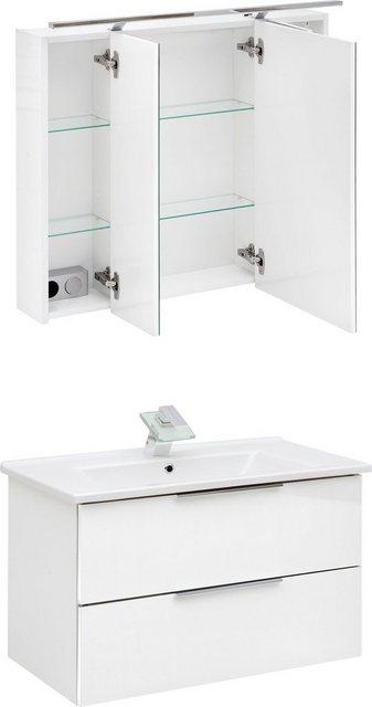 Badezimmer Sets - Schildmeyer Badmöbel Set »Ankona«, (2 tlg), Spiegelschrank Waschtisch, montiert  - Onlineshop OTTO