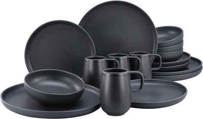 CreaTable Kombiservice »Uno Black« (16-tlg), Steinzeug, mit seidenmatter Spezialglasur