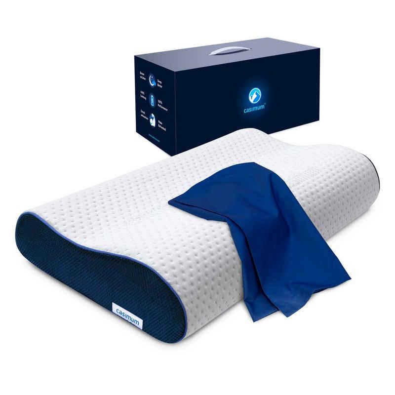 Nackenstützkissen, »Ergo Vario«, casimum, Füllung: Memory Foam, ergonomisches Memory Foam Nackenstützkissen, höhenverstellbar für Seitenschläfer & Rückenschläfer, 60x30 cm, mit blauem Bezug