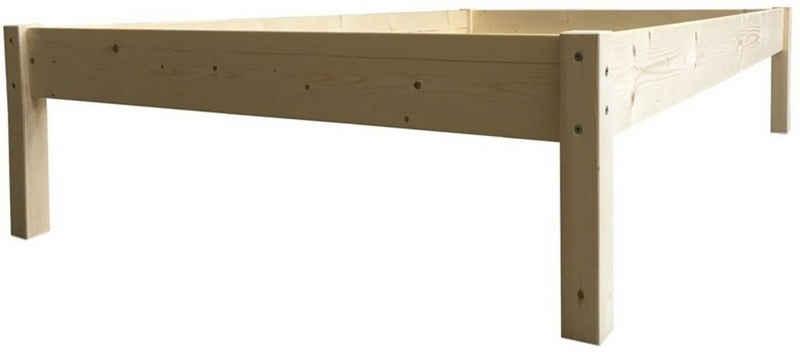 LIEGEWERK Bett »Erhöhtes Bett Seniorenbett in 2 Höhen Massivholzbett Holz 90 100 120 140 160 180 200 x 200cm«, 160x200cm Höhe 45cm