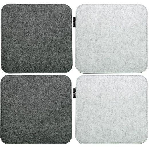 DuneDesign Stuhlkissen »4 Filz Sitzkissen eckig Stuhlkissen Sitzauflage«, 35x35cm 8 mm grau