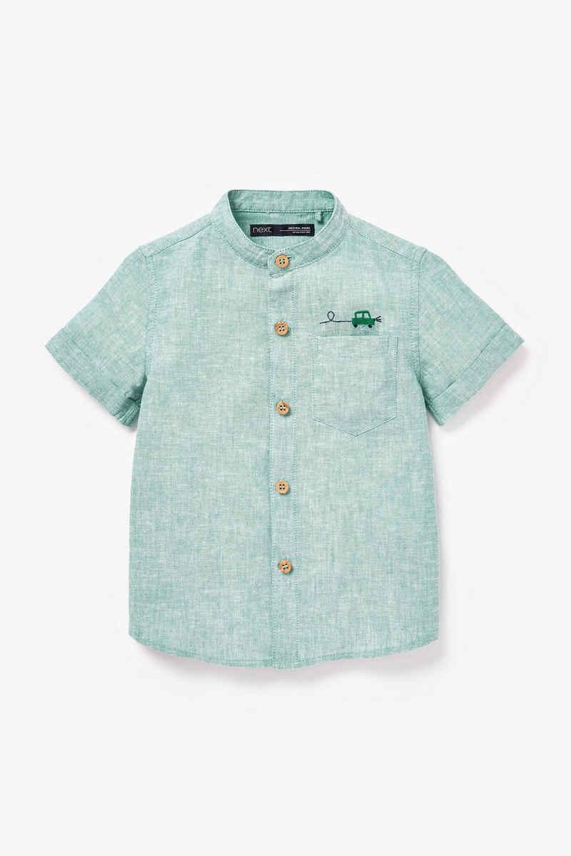 Next Kurzarmhemd »Kurzarmhemd aus Leinenmix mit Grandad-Kragen« (1-tlg)