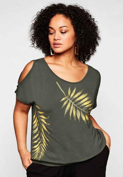 Sheego Oversize-Shirt mit Motivdruck und Cut-out am Ärmel