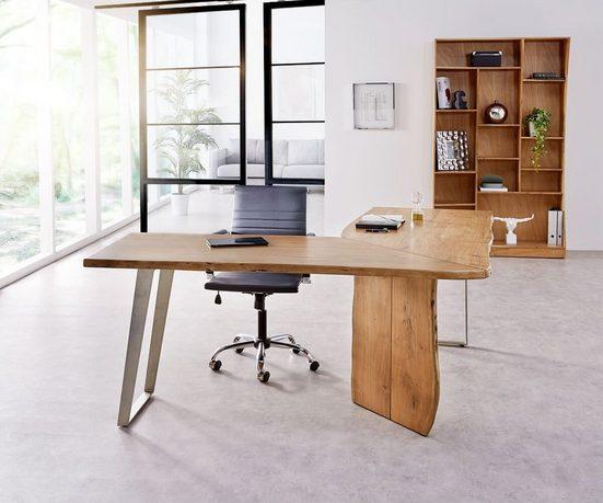 DELIFE Schreibtisch »Live-Edge«, Akazie Natur 170x170 Gestell Silber Baumkante Schreibtisch