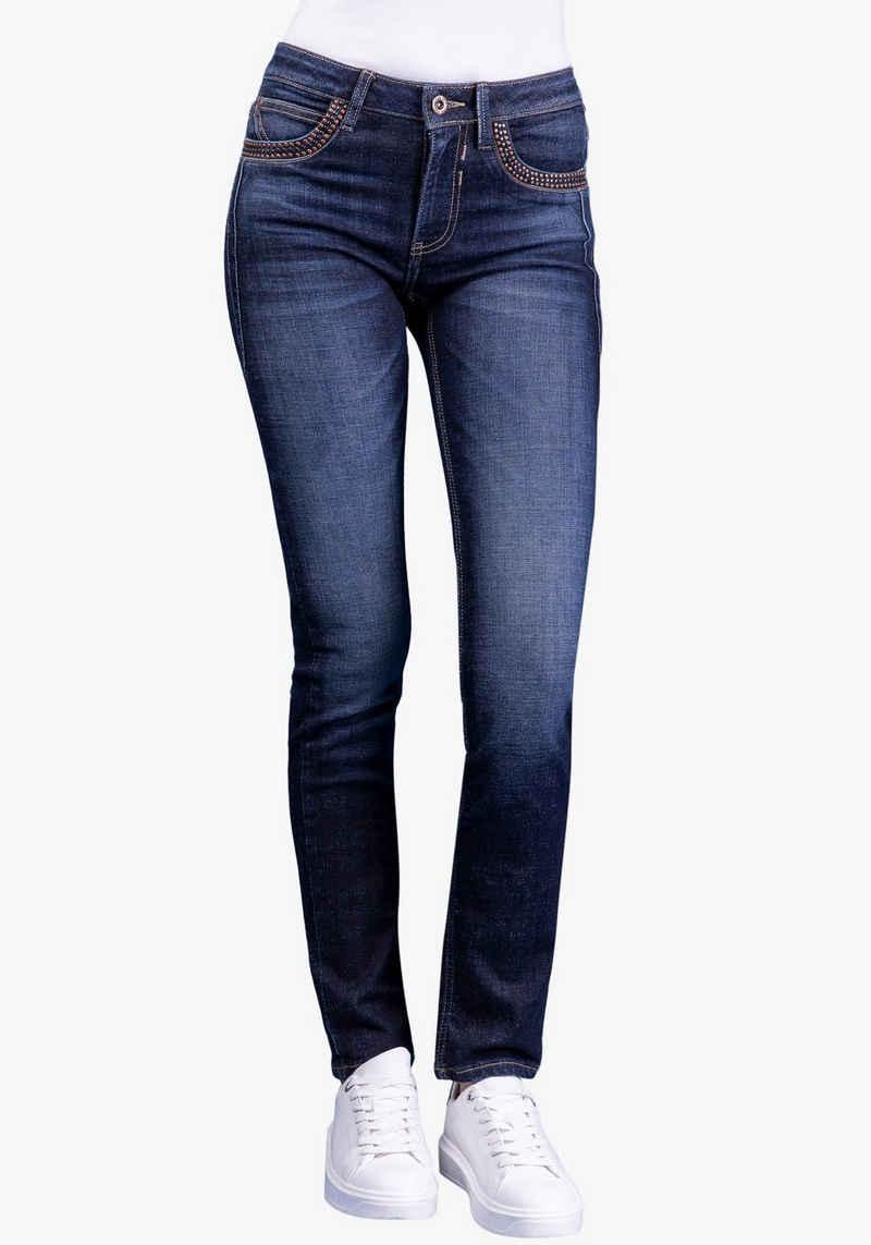 BLUE FIRE Slim-fit-Jeans »NANCY-BF« mit stylischen Ziernieten an den Eingrifftaschen vorne