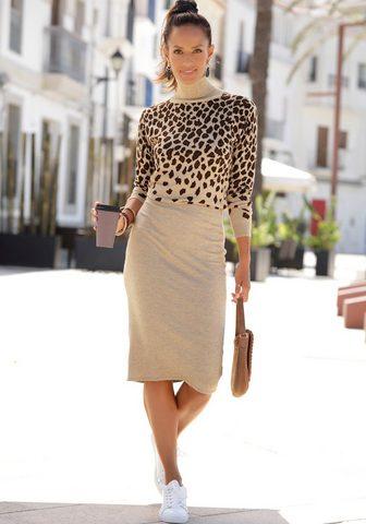 LASCANA Megzta suknelė su Leopardinis raštas