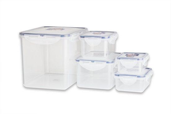 LOCK & LOCK Frischhaltedose »Set 5−tlg HPL829SB Vorratsboxen Brotdose stapelbar BPA−frei spülmaschinen−, mikrowellen− & gefriergeeignet«, (5-tlg)