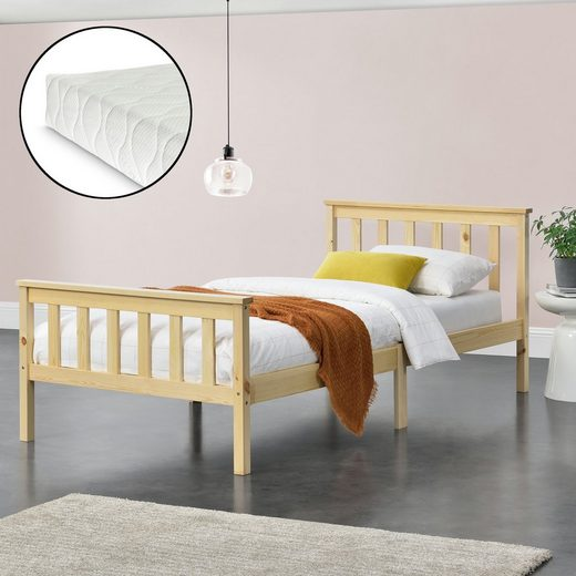 en.casa Holzbett, »Breda« Gästebett Jugendbett mit Lattenrost und Kaltschaummatratze in verschiedenen Farben und Größen