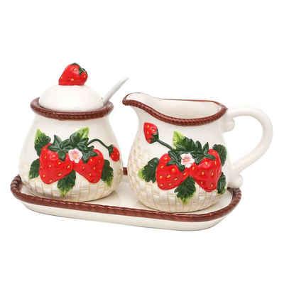 SIGRO Zuckerdose »3er Set Dolomite Zuckerdose mit Löffel und Milchkä«, Keramik