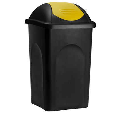 Deuba Mülleimer »Push Can«, 60 L Schwarz Gelb Abfallbehälter 68x41x41cm Papierkorb Müllsystemtrennung Küche