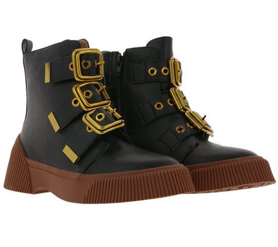 XYXYX »xyxyx Stiefelette dekorative Damen Boots mit großen Schnallen Freizeit-Boots Schwarz« Stiefelette