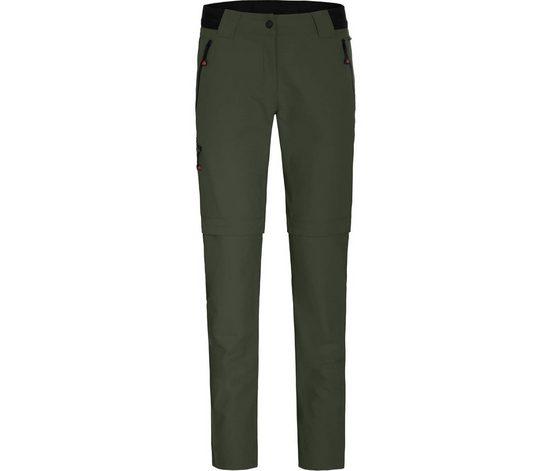 Bergson Zip-off-Hose »VIDAA COMFORT Zipp Off (slim)« Damen Wanderhose, leicht strapazierfähig, Kurzgrößen, dunkel grün