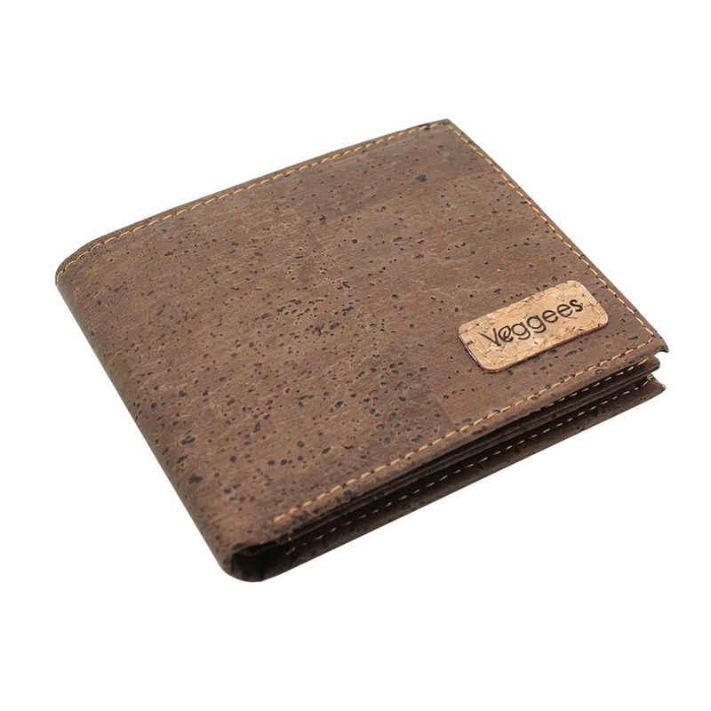 Veggees Geldbörse »Veggees Vegane Kork Geldbörse Portemonnaie Herren Damen RFID Brieftasche Braun«, Vegan, Zero Waste, RFID-Schutz