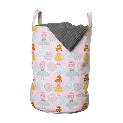 Abakuhaus Wäschesack »Wäschekorb mit Griffen Kordelzugverschluss für Waschsalons«, Kindergarten Puppen und Herzen in Formen