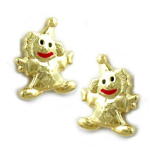 unbespielt Paar Ohrstecker »Ohrringe Ohrstecker Clown 8 x 6 mm glänzend farbig lackiert 9 Karat Gold inkl. Schmuckbox«, Goldschmuck für Kinder