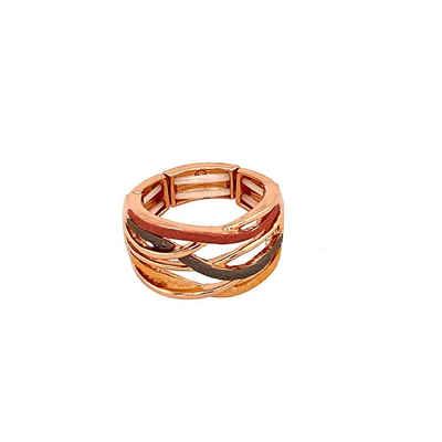 Mein Style Fingerring »elastischer Ring rotgold grau R5258 2«, elastischer Ring, passend zu allen Ringgrößen