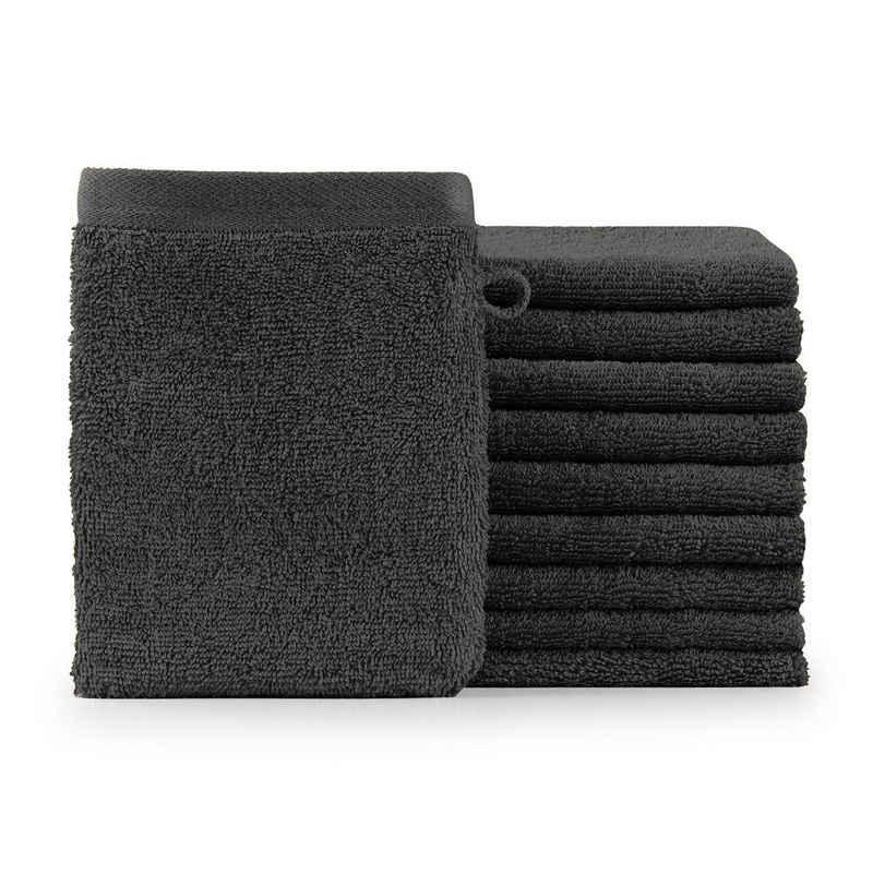 Blumtal Waschhandschuh »10er Set Waschlappen 15x20 cm - weich und saugstark mit modischer Bordüre und praktischer Aufhängeschlaufe« (Set, 10tlg), 100% Baumwolle
