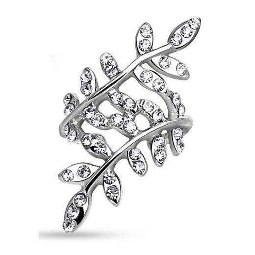 BUNGSA Ohrklemme »Ohrklemme Kristallblätter Silber Messing Damen« (inkl. Schmuckbeutel aus Organza), Ohrschmuck Ohrringe Frauen Geschenk Liebe