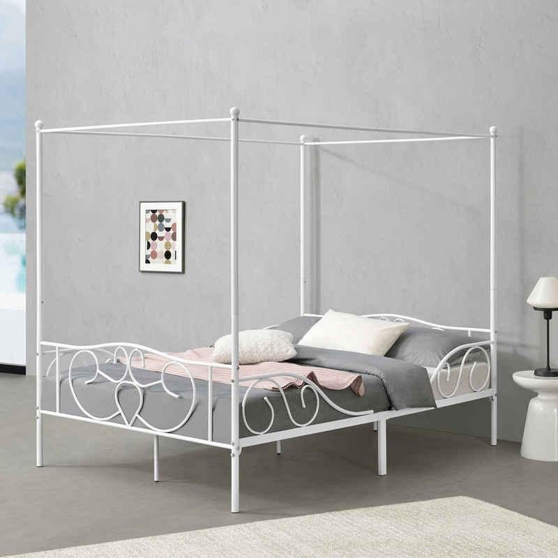 en.casa Himmelbett, »Finström« Metallbett Doppelbett 140x200cm Weiß