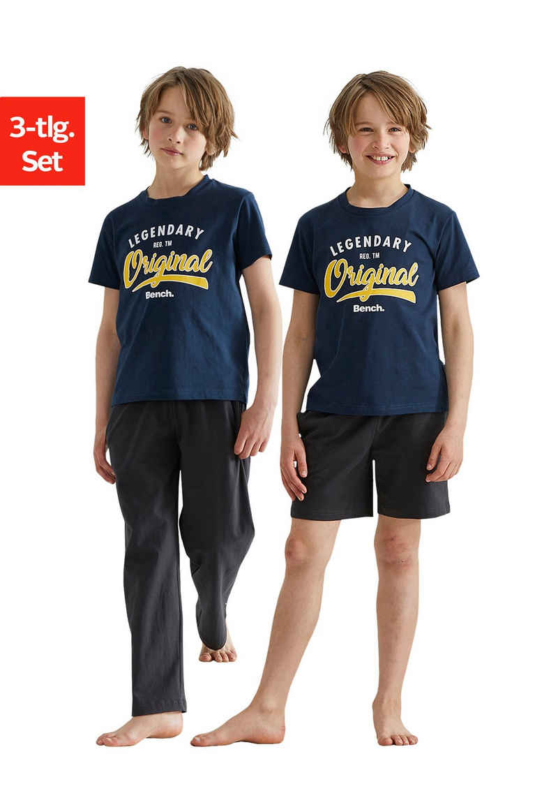 Bench. Pyjama (Packung, 3 tlg) im 3er Set, T-Shirt mit Shorts und langer Hose