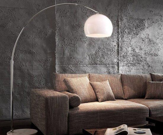 DELIFE Stehlampe »Big-Deal«, Eco Lounge Weiss Marmor verstellbar Bogenleuchte