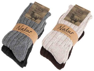 BRUBAKER Kuschelsocken »warme Grobstrick Kaschmir-Socken« (4-Paar, 48% Schafswolle und 40% Cashmere Anteil) Wintersocken für Damen und Herren
