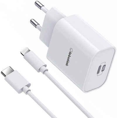 GlobaLink »GlobaLink 18W iPhone Schnell-Ladegerät mit USB auf Lightning Kabel« USB-Ladegerät (18 watt mA, kompatibel mit iPhone 12/11/12 Pro /Mini /Max/SE 2020/8/X XR XS, iPad Pro, 1-tlg., iPhone Schnellladegerät USB C Ladegerät iPhone Fast Charger+2m Typ C auf Lightning Kabel [Apple MFi Zertifiziert], USB C Ladegerät iPhone Fast Charger + 2m Typ C auf Lightning Kabel [MFi Zertifiziert] kompatibel mit iPhone 12 Pro Mini Max/SE 2020/8/X XR XS, iPad Pro)