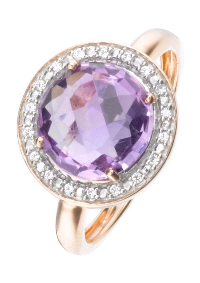 firetti Ring mit Amethyst und Diamanten in goldfarben