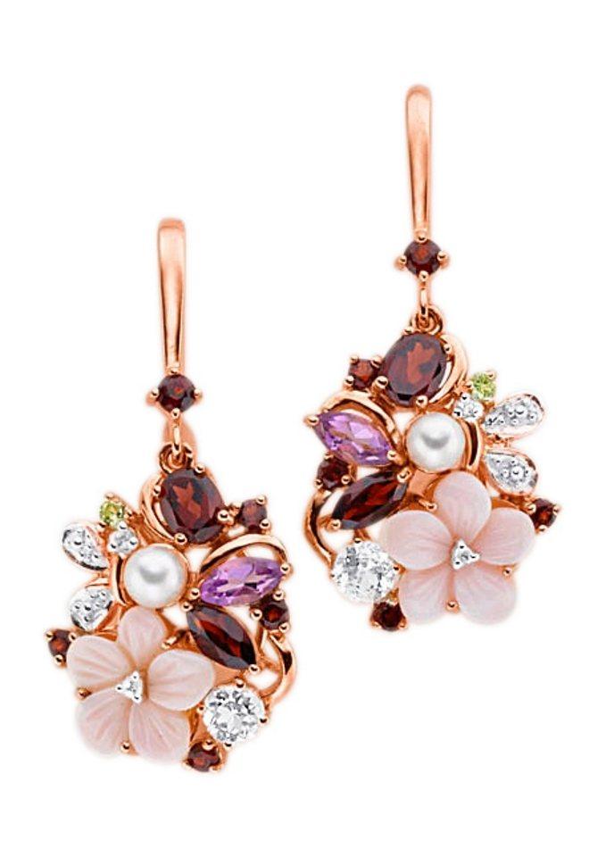 "Vivance Jewels Ohrschmuck: Paar Ohrhaken ""Blume / Blüten"" mit Perle in goldfarben"